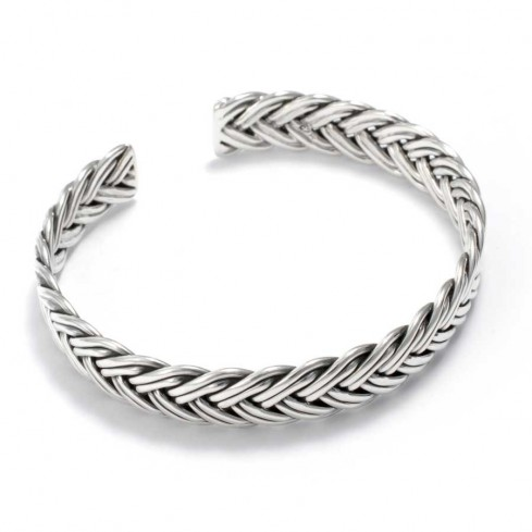 Beautiful Braided Silver Open Bangle - Silver Bracelets - Boutique Nirvana