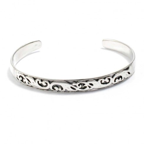 Pretty Carved Silver Open Bangle - Silver Bracelets - Boutique Nirvana
