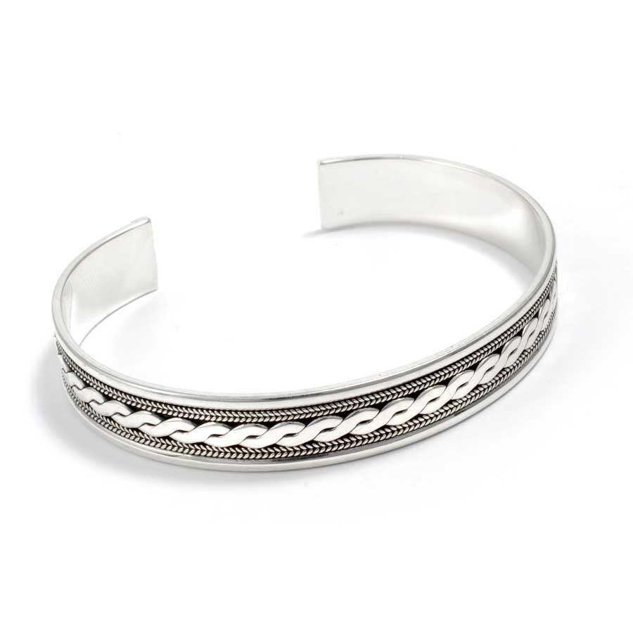 Braided Silver Open Bangle Range - Silver Bracelets - Boutique Nirvana