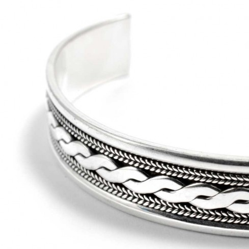 Braided Silver Open Bangle Range - Silver Bracelets - Boutique Nirvana