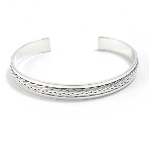 Bracelet argent rigide tressé - BRACELETS ARGENT - Boutique Nirvana