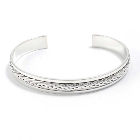 Celtic Inspired Braided Silver Bangle - Silver Bracelets - Boutique Nirvana