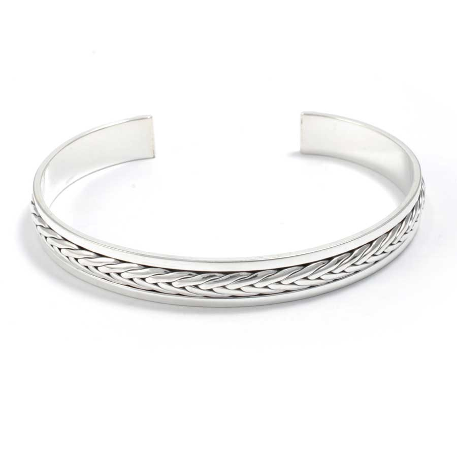 Celtic Inspired Braided Silver Bangle - Silver Bracelets - Boutique Nirvana