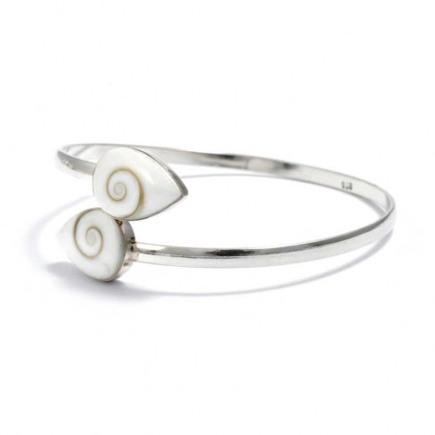 Eye of St Lucia Silver Crossover Bangle - Silver Bracelets - Boutique Nirvana
