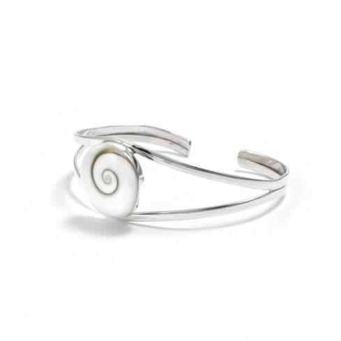 Bracelet argent rigide avec oeil Ste Lucie croisé - BRACELETS ARGENT - Boutique Nirvana