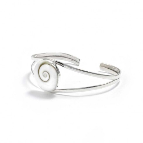 Eye of St Lucia Silver Open Bangle - Silver Bracelets - Boutique Nirvana