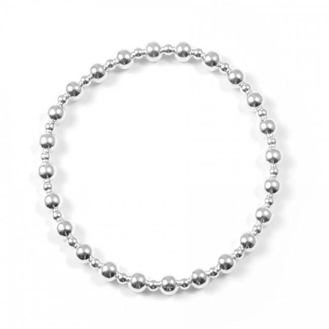 Bracelet élastique perles argent 2 tailles - Argent - Boutique Nirvana