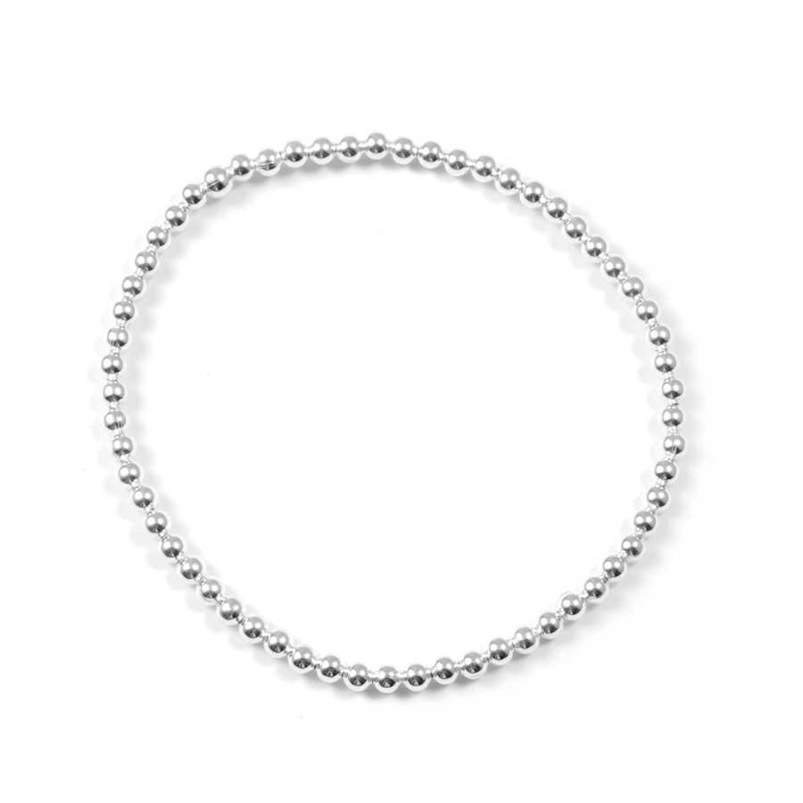 Bracelet élastique perles d'argent - Argent - Boutique Nirvana