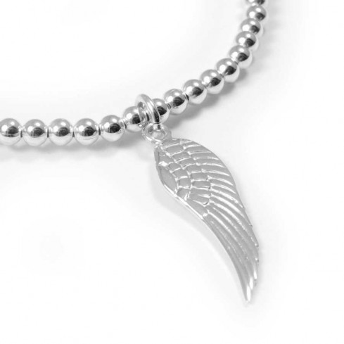 Bracelet élastique perles d'argent et symboles - BRACELETS ARGENT - Boutique Nirvana