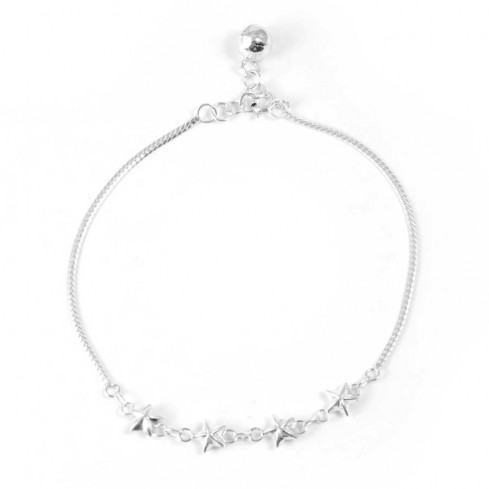Sterling Silver Stars Ankle Chain - Silver Ankle Chain - Boutique Nirvana