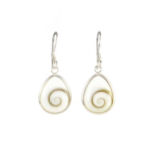 Silver dangling Shiva eye earrings
