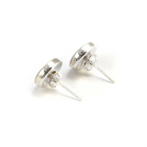 Eye of St Lucia Silver Stud Earrings - SILVER EARRINGS - Boutique Nirvana
