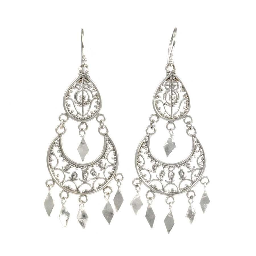 Antique Silver Filigree Earrings - SILVER EARRINGS - Boutique Nirvana