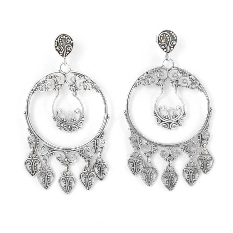 Round Silver Filigree Pendant Earrings - SILVER EARRINGS - Boutique Nirvana