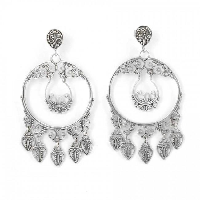 Round Silver Filigree Pendant Earrings - SILVER EARRINGS - Boutique Nirvana