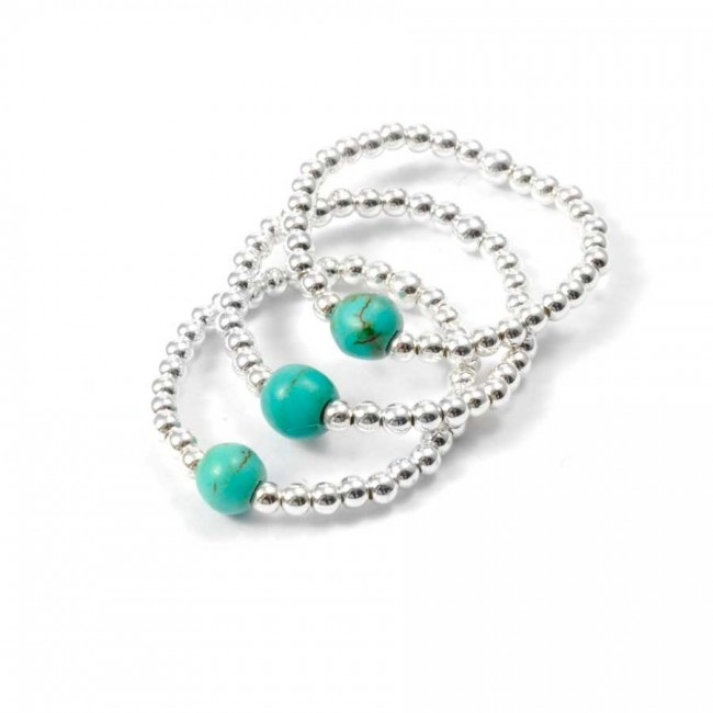 Bagues élastiques perles d'argent - BAGUES ARGENT - Boutique Nirvana