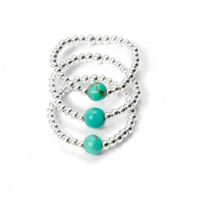 Unique Silver Beaded Gemstone Ring - PIERRES FINES - Boutique Nirvana