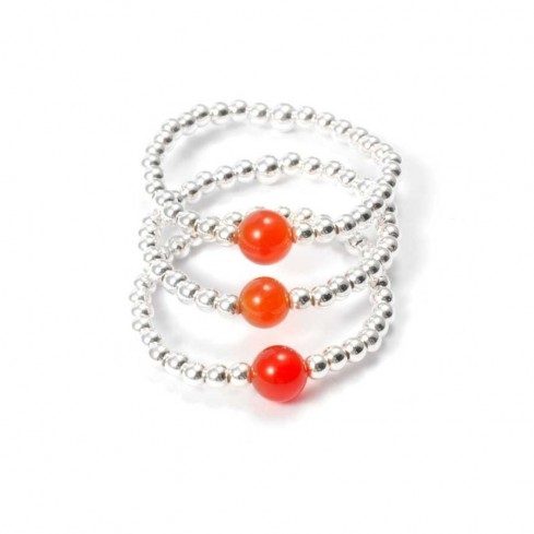Unique Silver Beaded Gemstone Ring - Silver Rings - Boutique Nirvana