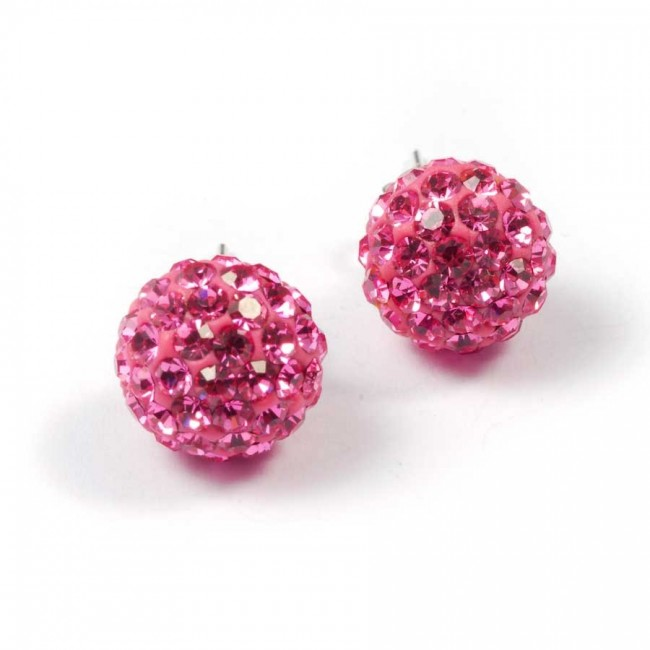 Silver strass earrings pink