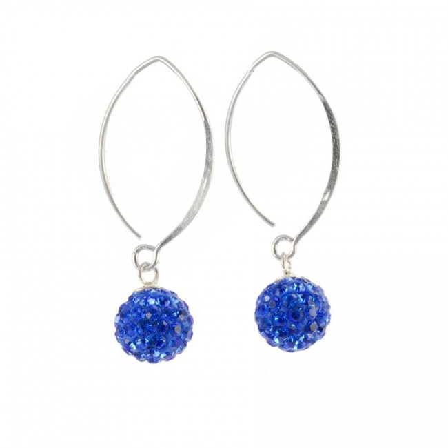 Silver dangling strass earrings royal blue