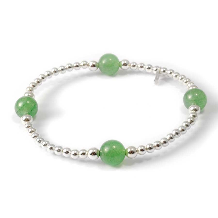 Bracelets élastiques perles d'argent et pierres naturelles - Pierres naturelles - Boutique Nirvana
