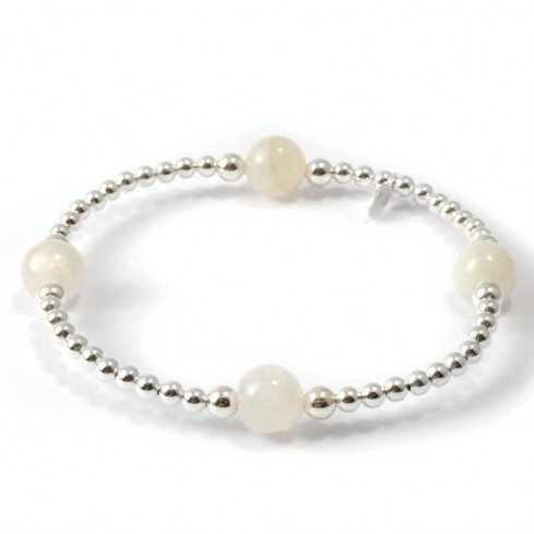 Unique Silver Beaded Gemstone Bracelet - Silver Bracelets - Boutique Nirvana