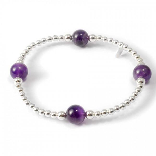 Bracelets perles d'argent et Améthyste