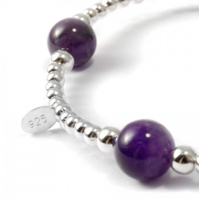 Silver beads amethyst elastic bracelet