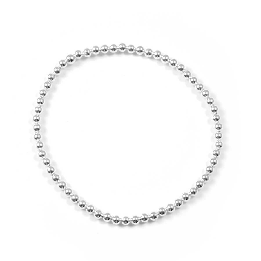 Handcrafted Elastic Silver Beaded Bracelet - ARGENT+ - Boutique Nirvana