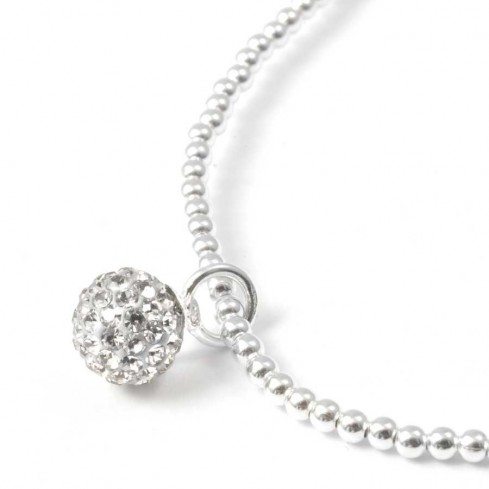 Beaded Silver Bracelet with Sparkling Sphere - Silver Bracelets - Boutique Nirvana