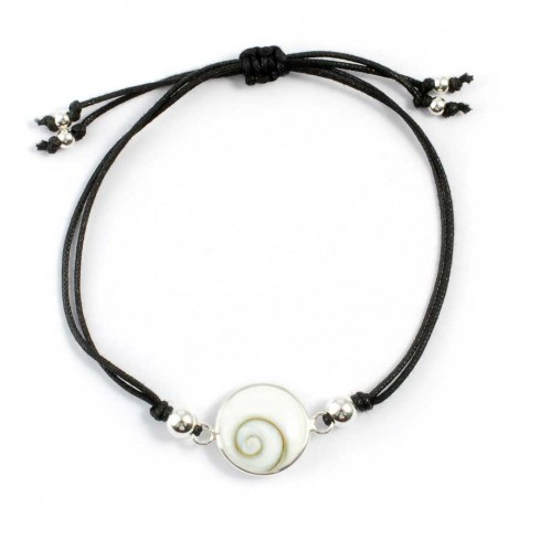 Cord Eye of St Lucia Shell Bracelet - Silver Bracelets - Boutique Nirvana