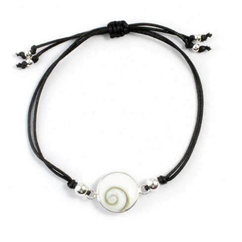 Silver shiva eye cord bracelet