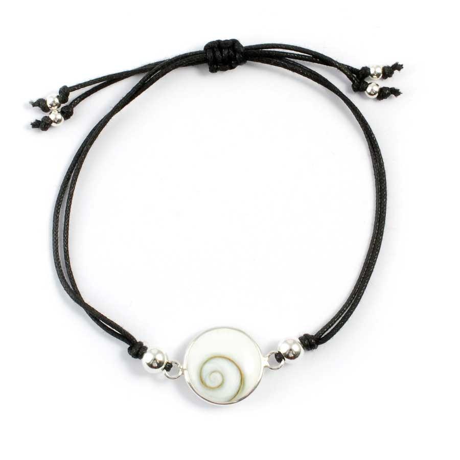 Cord Eye of St Lucia Shell Bracelet - Silver Bracelets - Boutique Nirvana