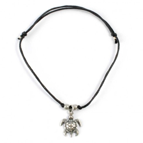 Silver charm bracelet cord turtle