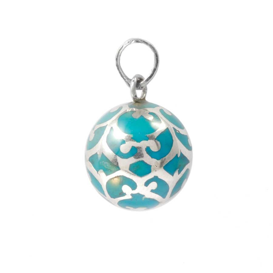 Silver Bola Cage Pendant with Enamelled Ball - HARMONY BALL - Boutique Nirvana