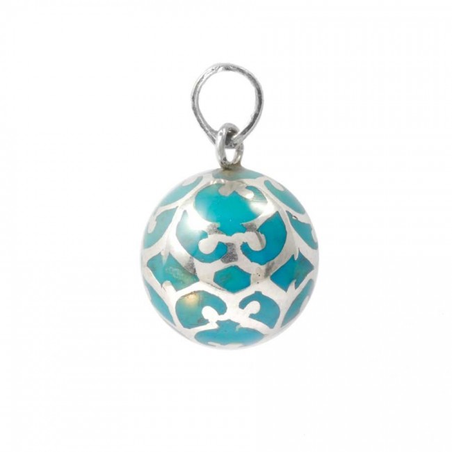 Silver enameled bola collar pendant turquoise