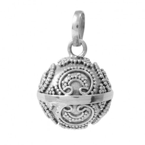 Lalita Ethnic Silver Bola Pendant - HARMONY BALL - Boutique Nirvana