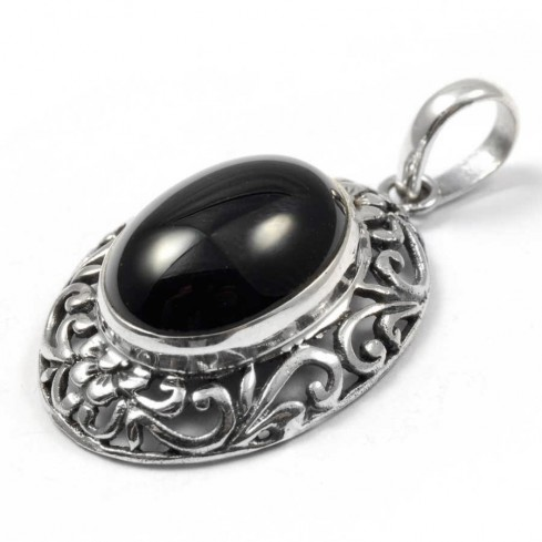 Ethnic Silver & Natural Stone Pendant - Silver Jewellery  - Boutique Nirvana