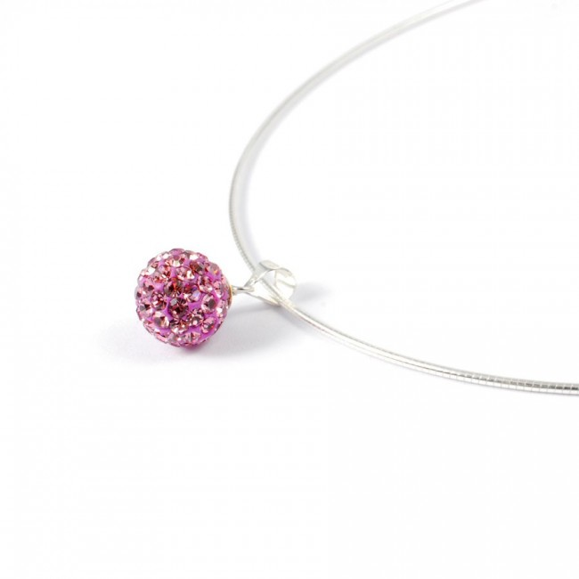 Silver Necklace with Sparkling Sphere Pendant - Silver Jewellery  - Boutique Nirvana