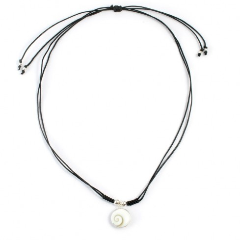 Black Cord Eye of St Lucia Necklace - Silver Necklaces - Boutique Nirvana