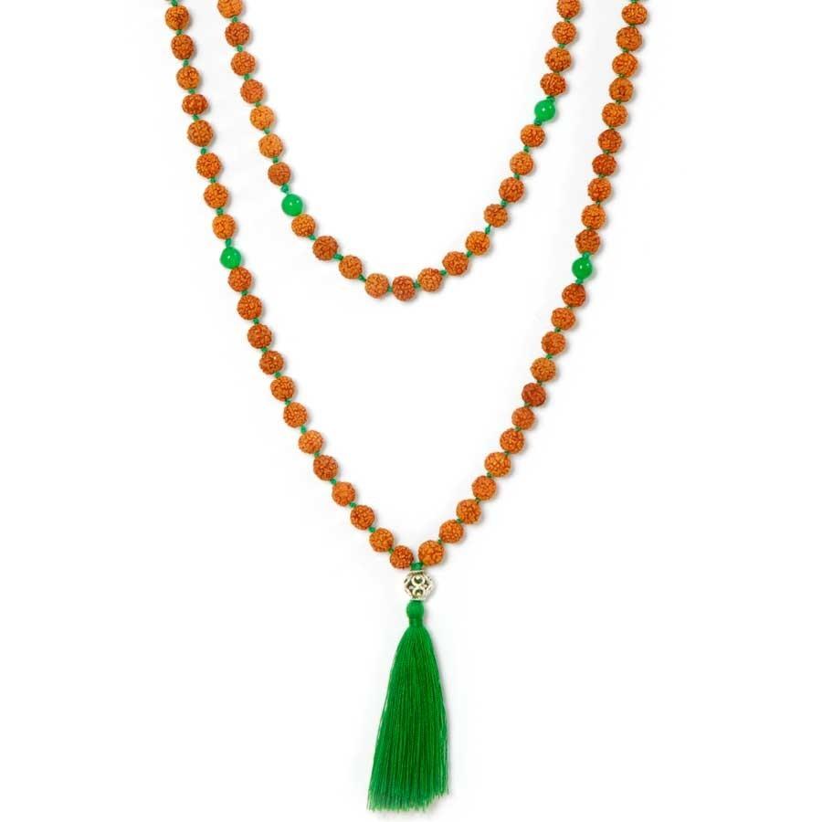 Malas en rudraksha perle d'argent et pierres naturelles - BIJOUX ARGENT - Boutique Nirvana