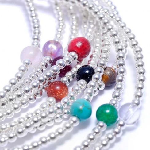 Bracelet petites perles argent et pierres - PIERRES FINES+ - Boutique Nirvana