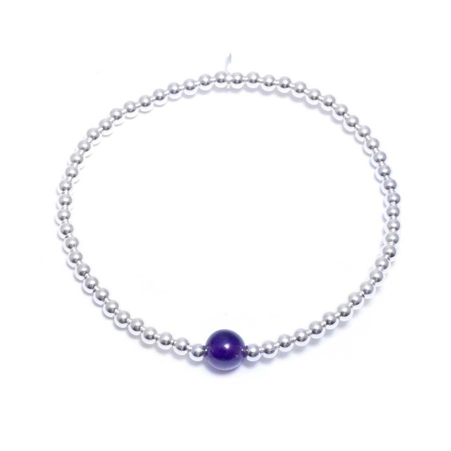 Bracelets élastiques perles d'argent moyennes et pierres naturelles - Silver Bracelets - Boutique Nirvana