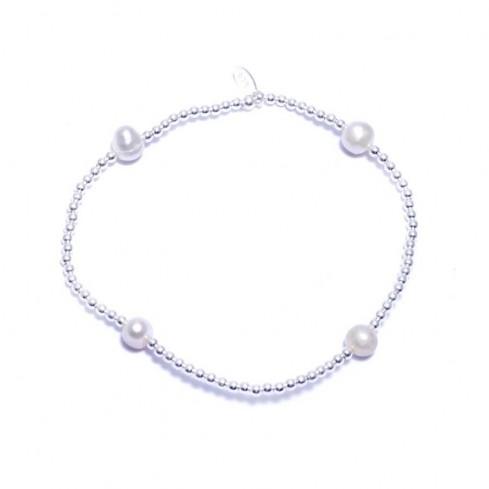 Bracelet élastique perles d'argent et perles d'eau douce - Silver Bracelets - Boutique Nirvana
