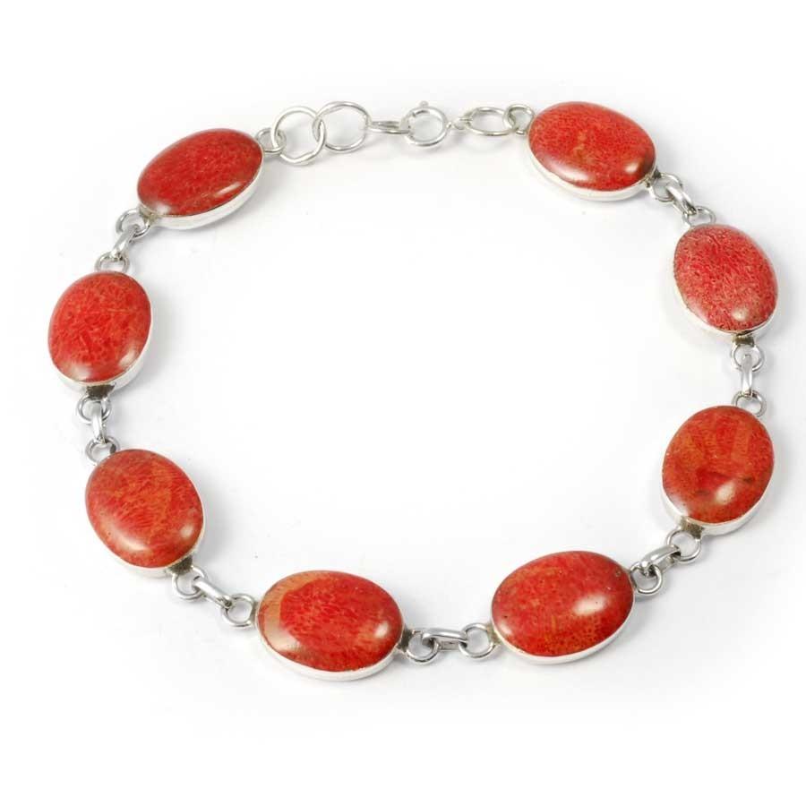 Bracelet corail ovales en argent - NACRE & CORAIL - Boutique Nirvana