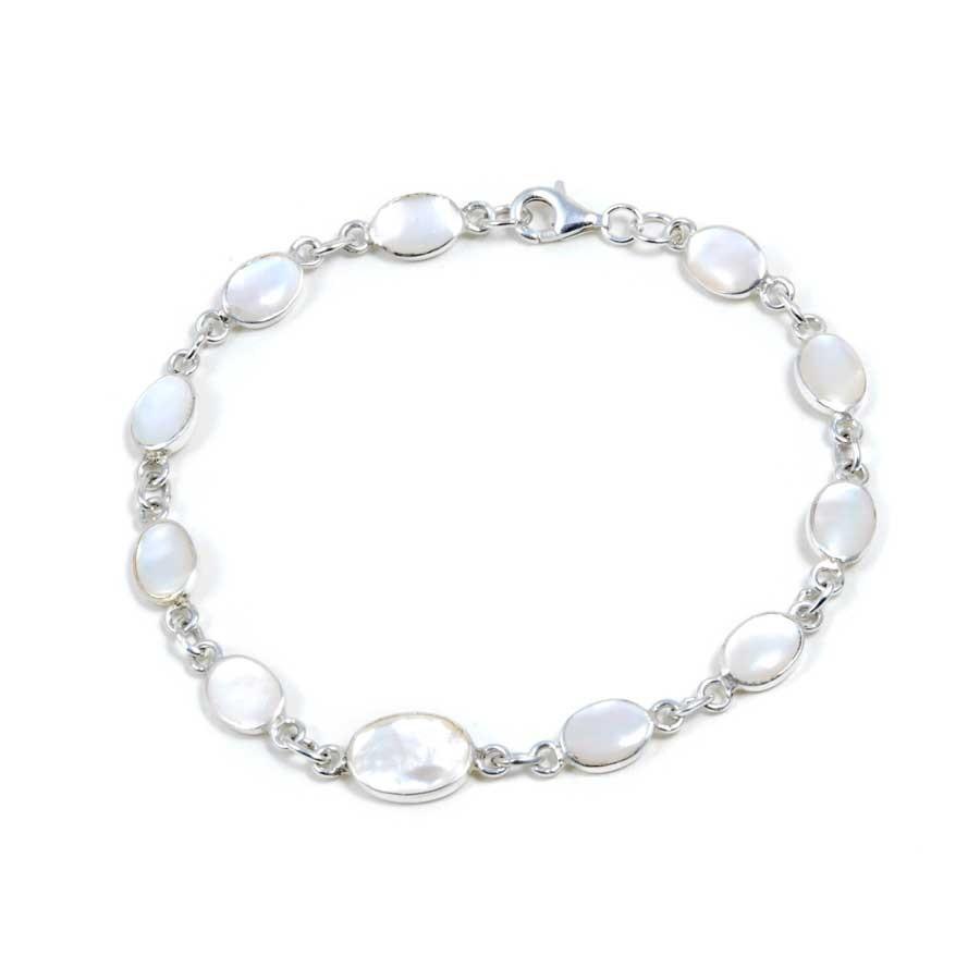 Bracelet argent petites pierres naturelles ovales et moyenne au centre - Silver Bracelets - Boutique Nirvana