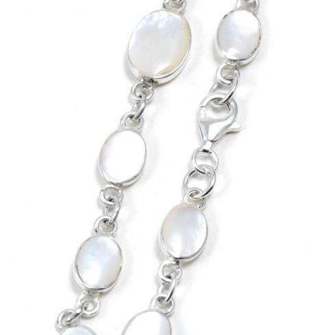 Bracelet argent petites pierres naturelles ovales et moyenne au centre - BRACELETS ARGENT - Boutique Nirvana