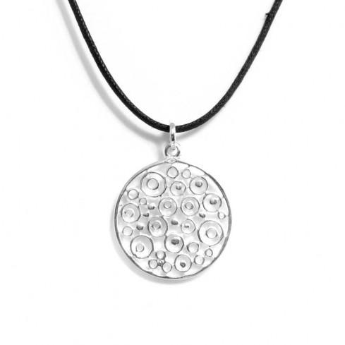 Pendentif rond en argent ajouré cercles - Silver Jewellery  - Boutique Nirvana