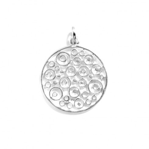 Pendentif rond en argent ajouré cercles