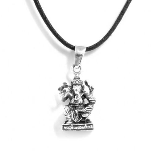 Pendentif argent vieilli ganesh sur base carrée - Silver Jewellery  - Boutique Nirvana